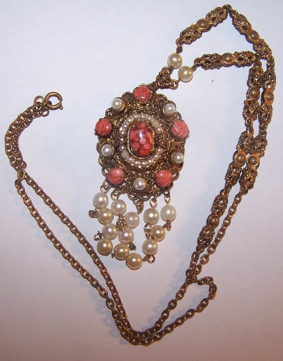 Vintage western Germany brass  flligree necklace pearls layers orange hearts