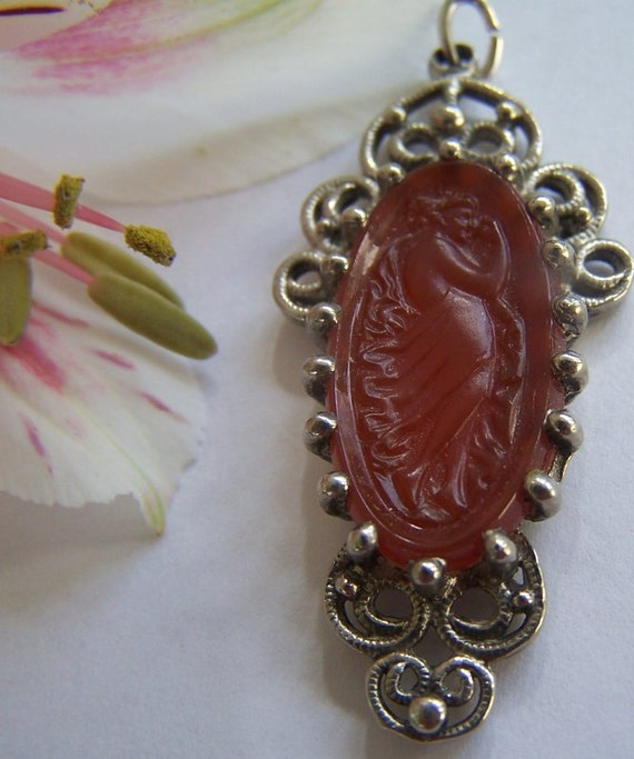 Vintage godess pendant glass poured glass Greek orange filigree nymph