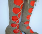 Vintage 1960s Lace Up Suede Boots in Taupe NOS 6.5 (run small)