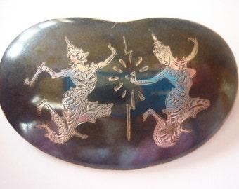 Vintage Siam Silver Niello Brooch Souvenir