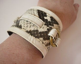 60s 70s SUPERWIDE Watchband Faux Snake and Wet Look Vinyl