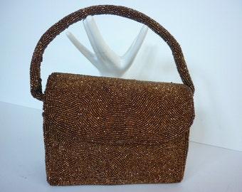 1940s Boxy Beaded Handbag / Evening Bag  Bronze