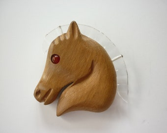 1940s Stylized  Horse Head Pin wood w lucite mane and eye