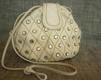 VTG 80s Bejeweled White Leather Shoulder Bag