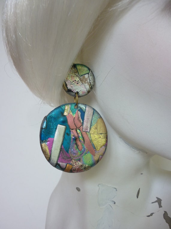vtg 80s HUGE Disc Dangle Earrings Metallic Friendly Plastics