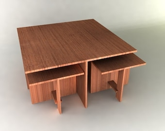 Modern Table with Nesting Chairs Furniture Plan