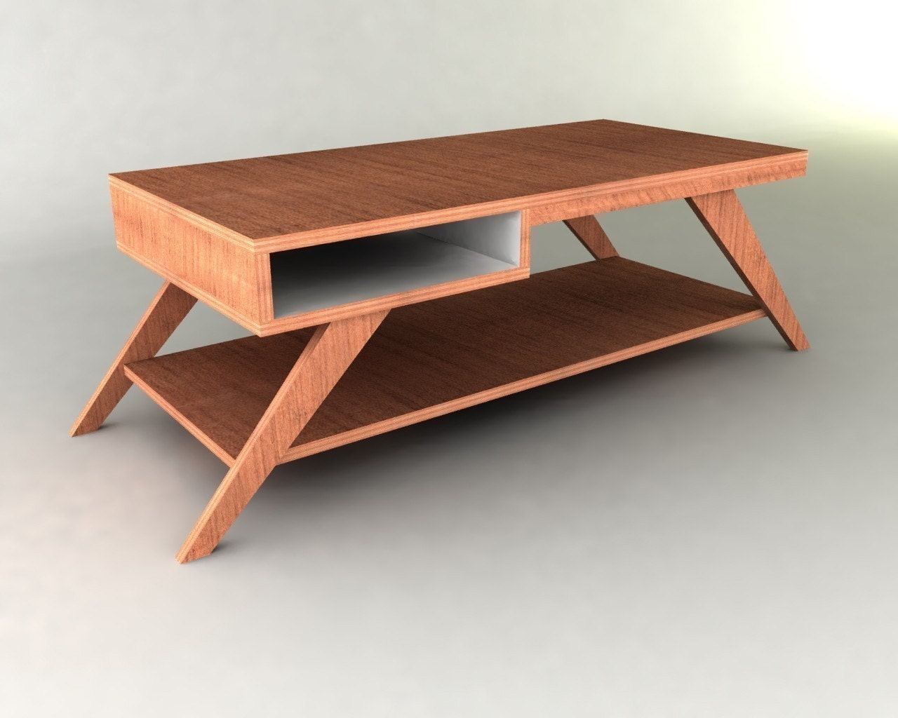 Retro modern eames style coffee table furniture plan for Modern wood furniture