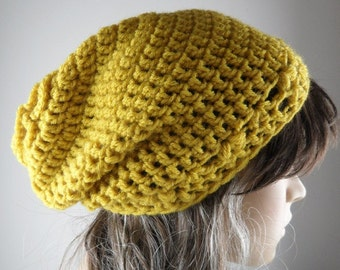 Mustard color Flower Me Hat Hand Knit Slouchy Beret Crcocheted Beanie Winter Accessories