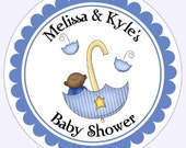 Baby Boy Umbrella Baby Shower Labels, Stickers - Personalized for YOU