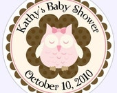 Custom Owl Baby Shower or New Baby Labels, Pink Owl Stickers - 2.5 inch round - Personalized for YOU