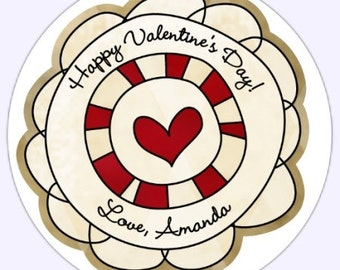 Custom Valentine's Day Labels, Stickers - Funky Circles - 2.5 inch round - Personalized for YOU
