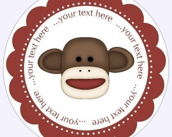 Custom Sock Monkey Labels, Stickers - Personalized Children Stickers, Personalized for YOU