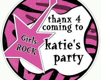 Custom Rock and Roll Birthday Labels, Girls Rock Stickers - Personalized for YOU