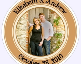 Wedding PHOTO Stickers, Custom Bride and Groom Labels, Wedding Party Favor Stickers - 2.5 inch round - Personalized for You
