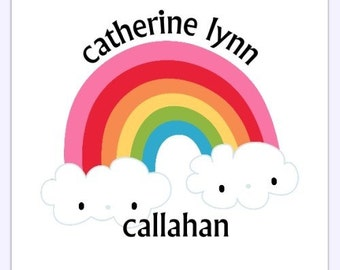Custom Rainbow Labels, Rainbow Stickers - 2 INCH SQUARE - Personalized for You