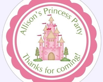 Princess Party Stickers, Princess Castle Birthday Favors, Birthday Decoration - 2.5 inch round