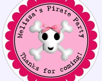 Custom PIRATE Stickers, Skull and Crossbones Stickers, Birthday Party Labels, Girl Skull and Crossbones Stickers