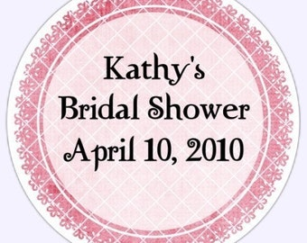 Pink Bridal Shower Labels, Pink Flower Scallop - Personalized for YOU