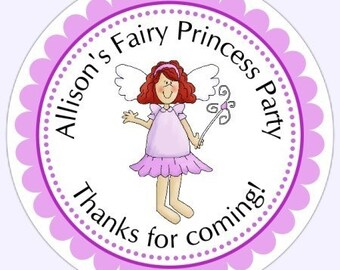 Custom Fairy Princess Birthday Labels, Princess Stickers, Princess Birthday Favor Stickers, Fairy Princess Stickers - Personalized