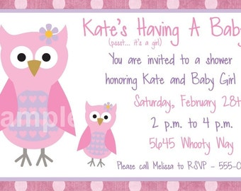Baby Shower Party Invitation, CUSTOM for YOU - 4x6 or 5x7 size - pink owls baby shower invite - YOU Print
