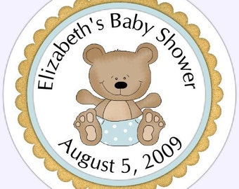 Blue Teddy Bear Baby Shower Labels, Baby Shower Stickers - Personalized for YOU