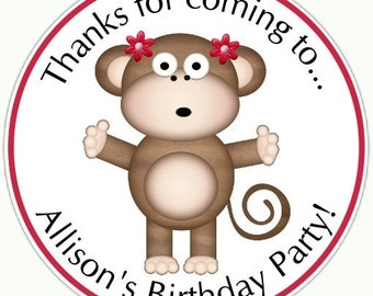 Custom Girl Monkey Birthday Labels, Girl Monkey Stickers -  Personalized for YOU