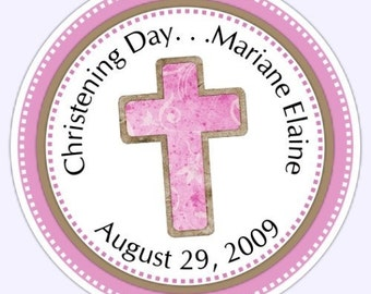 Pink Cross Baptism Stickers - Custom Labels, Cross Christening Labels - Personalized for YOU
