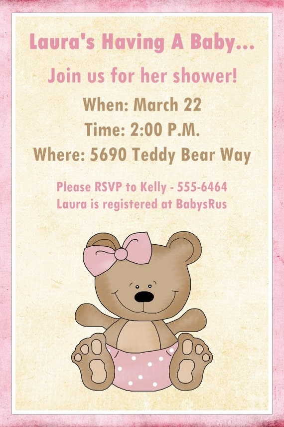 baby shower invitation custom for you 5x7 size sweet teddy bear