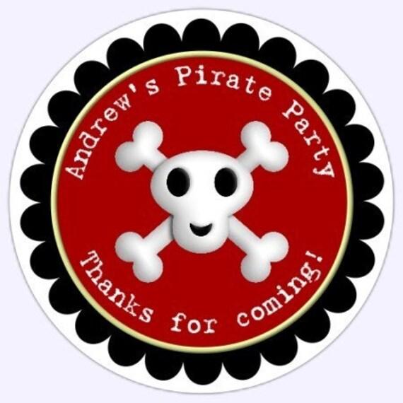 Custom PIRATE Skull and Crossbones Birthday Party Labels, Boy Skull and Crossbones Stickers