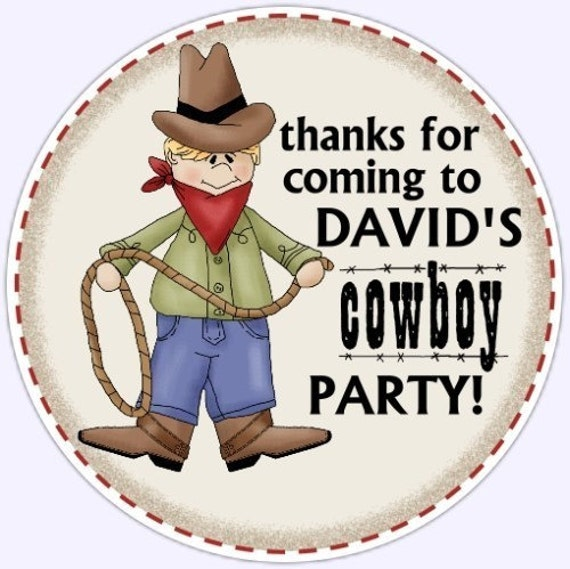 Custom Cowboy Birthday Labels, Stickers - Personalized Children Stickers, Personalized for YOU