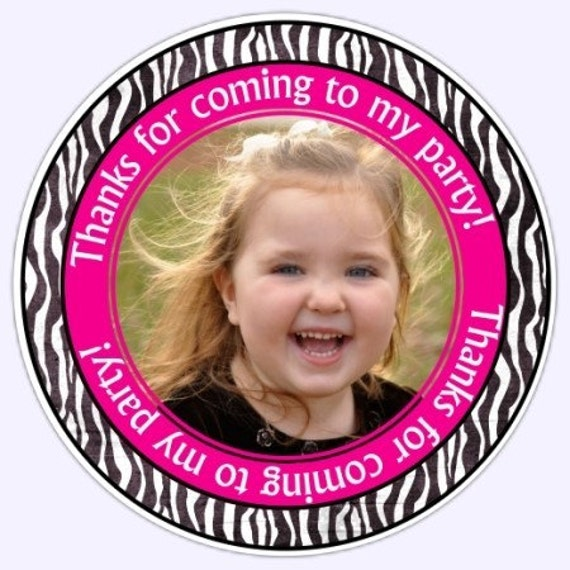 Custom Zebra Print Photo Birthday Labels, Stickers - Personalized Children Stickers, Personalized for YOU