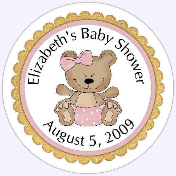 Teddy bear pink baby shower stickers hot girls wallpaper for Belly button bears wall mural
