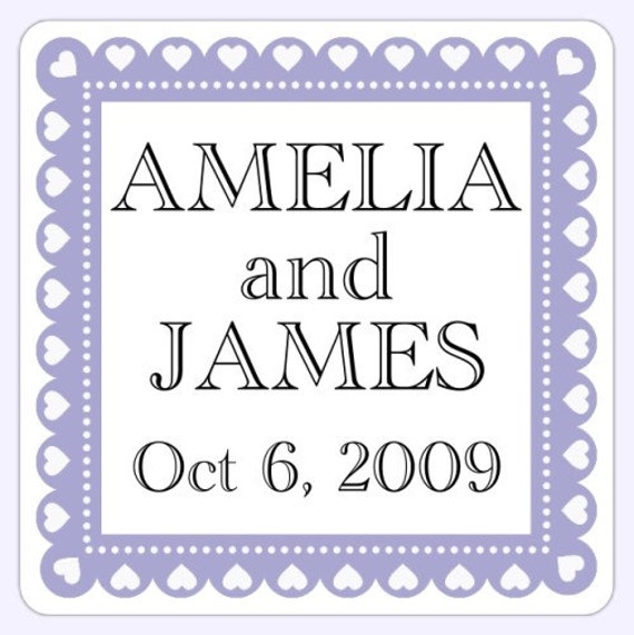 Custom Wedding or Bridal Shower Labels, Wedding Shower Stickers - 2 inch SQUARE - Personalized for YOU
