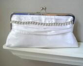 Vanessa Dupioni Silk Bridal Clutch in White with Vintage Rhinestone Jewelry - Ready to Ship