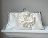 Yvonne Modern Bridal Dupioni Silk Clutch in Ivory with Silk Flower Accent  - Made to order and Customizable in the Color of your Choice