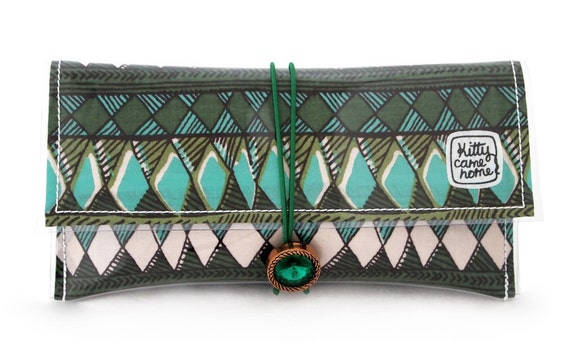 Button Clutch - Geometric green gems vintage fabric