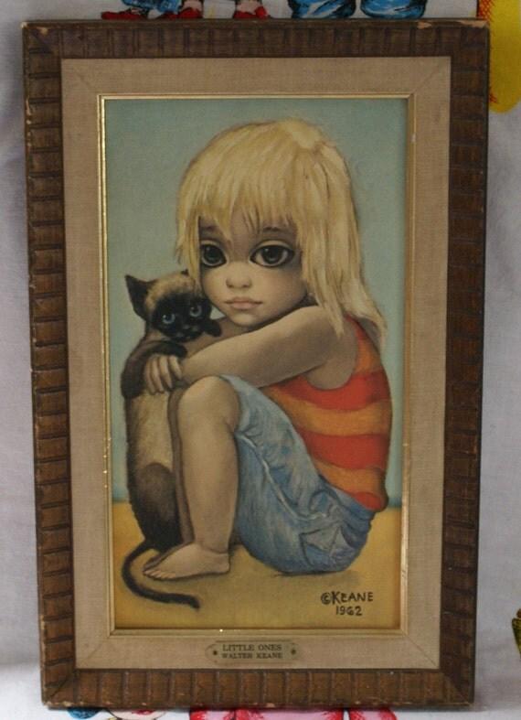 Vintage Walter Margaret Keane Big Sad Eyed Original Framed