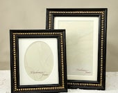 Two Antique Style Black Photo Frames with Gold Boules Decoration for 5x7 and Oval Portrait