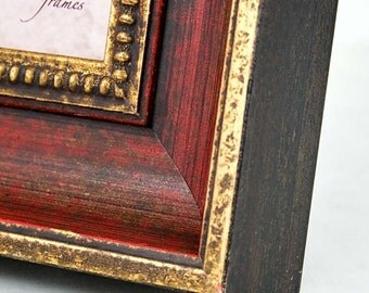 5x5 inch Red and Gold Photo and Picture Frame Antique Style/Office Desktop/Bride and Groom/Square Instagram 5x5 inch Deluxe Frame