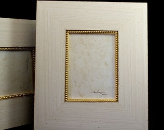 6x8 Wide Warm White and Gold  Frame