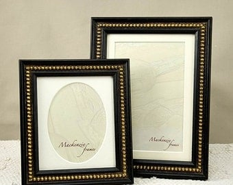 Two Antique Style Black Photo Frames with Gold Boules Decoration for 5x7 inch and Oval Portrait Good for Office Desktop/Wedding Photos