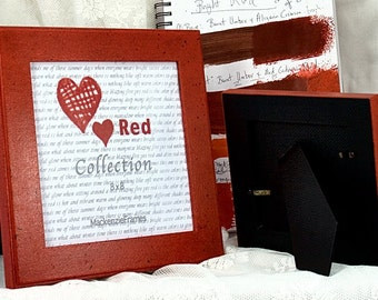 8x8 Red Deluxe Square Photo Frame Hand Painted