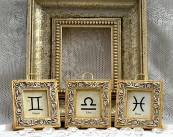 Gemini, Libra, Pisces in 3 Tiny Gold Frames