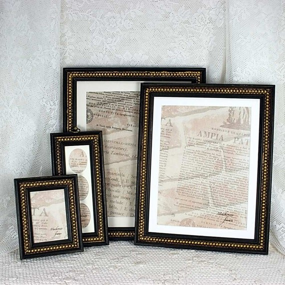 7x9 Antique style black frame with gold boule decoration