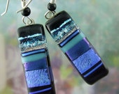 Midnight Blues Dichroic Earrings, Fused Glass Jewelry Handmade in North Carolina