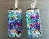 Waterlily Dichroic Dangles, Handmade Fused Glass Jewelry from North Carolina