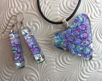 Waterlily Heart, Fused Glass Jewelry Handmade in North Carolina