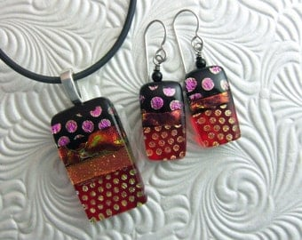 Red Fire Dichroic Pendant, Fused Glass Jewelry Handmade in North Carolina