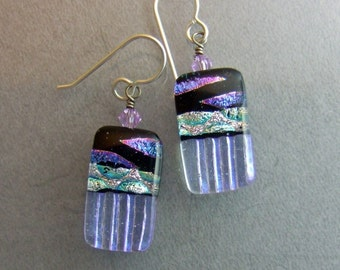 Lavender Marquis Dichroic Earrings, Handmade Fused Glass Jewelry