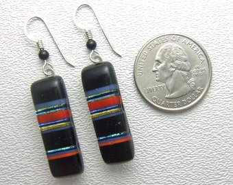 Katrina Earrings, Handmade Fused Glass Jewelry